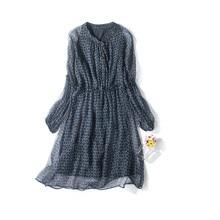 Floral Print 100% Silk Midi Dress 2017 Spring Summer Elastic Waist Long Sleeve Shirt Dress New Sole Tunique Femme 2016