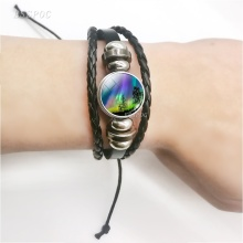 Aurora Leather Bracelet Glass Cabochon Bangles Multilayer Braided Flower Borealis Jewelry for Women