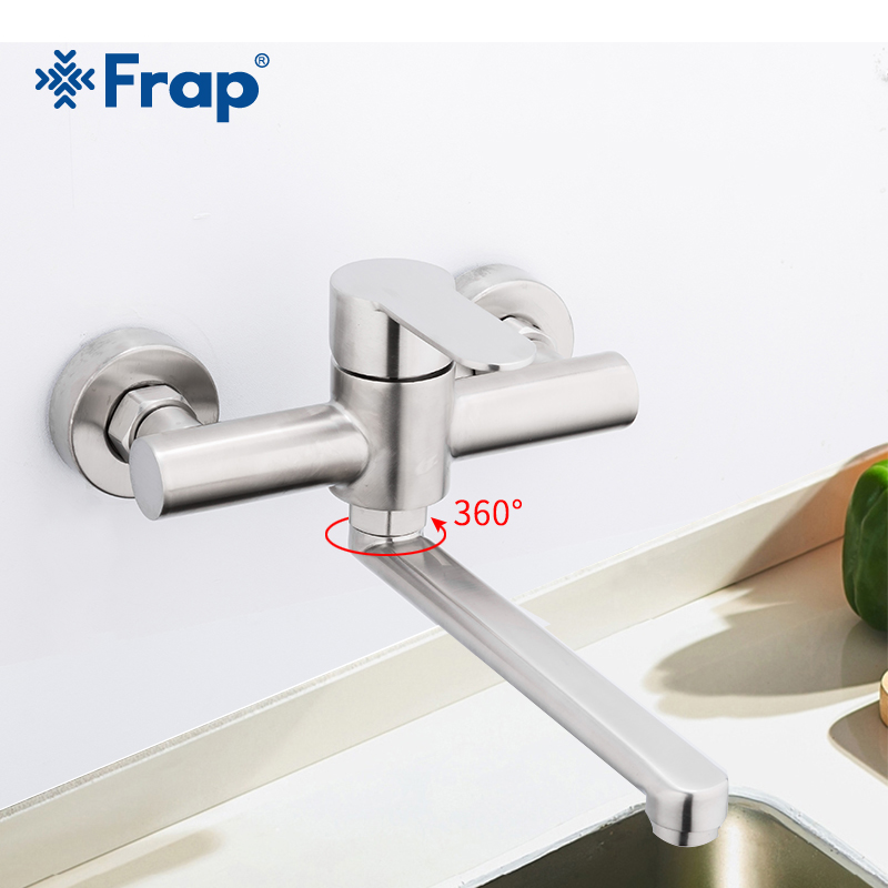 купить Frap Wall Mounted Kitchen Faucet Rotate Vegetable Basin Faucet Hot Cold Water Mixer Mop Pool Tap Sink Faucet Double Holes Y40086 по цене 2895.26 рублей