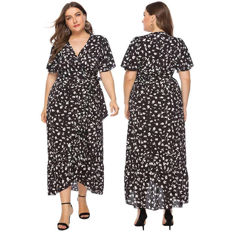 Женское Макси платье 3XL 4XL 5XL 6XL плюс размер длинное платье платья с v-образным вырезом короткий рукав для стройных элегантных женщин летнее платье 2019 красный черный
