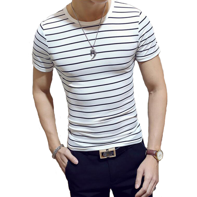 Men S Striped T Shirt New 2018 Summer Korean Version Fashion T
