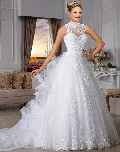 e3e5efdaa2 Vintage 1950 s estilo de cuello alto pura volver princesa bridal del cordón  del vestido 2015