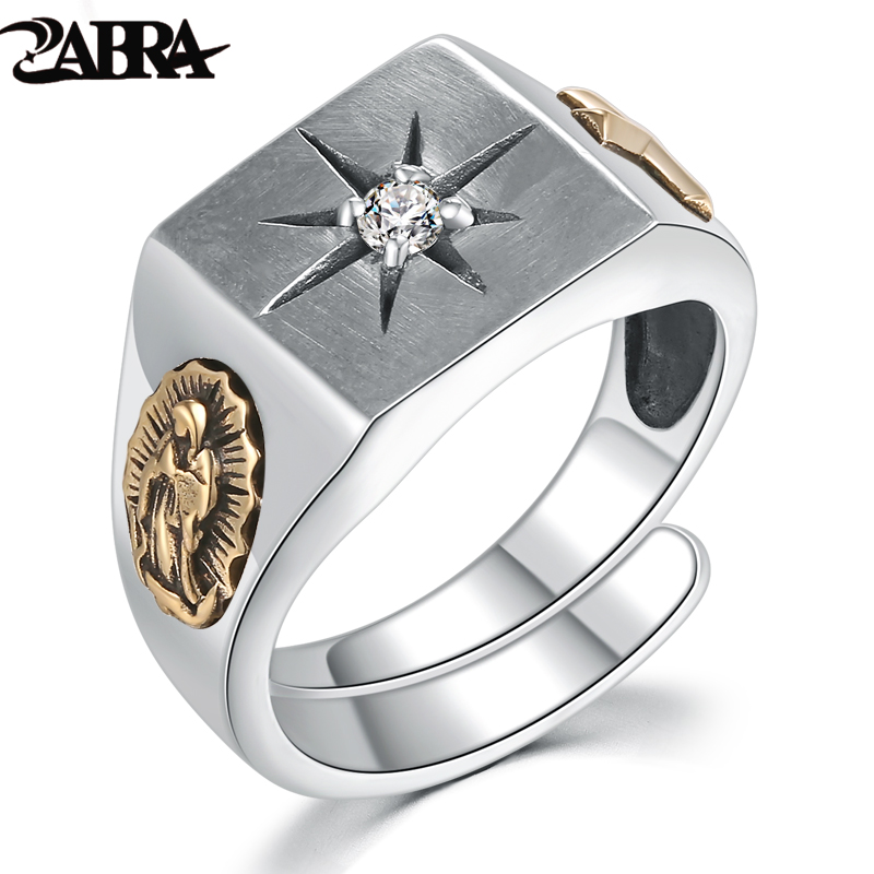 ZABRA White Zirconia Cross Virgin Mary Resizable Ring for Christian Vintage Charm 925 Sterling Silver Rose