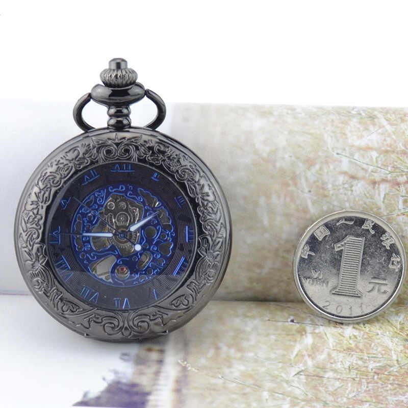 WOONUN עתיק שלד כחול רומי ספרות חיוג שחור סגסוגת מקרה מכאני יד רוח ארוך Fob שרשרת שעון גברים שעון כיס