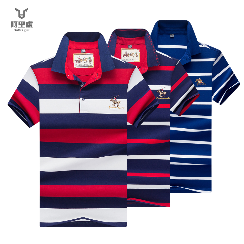 Hollirtiger Summer Casual Striped   Polo   Homme Short Sleeve Brand Man Tees 95% Cotton Elasticity   Polos   Baseball Slim Fit Top