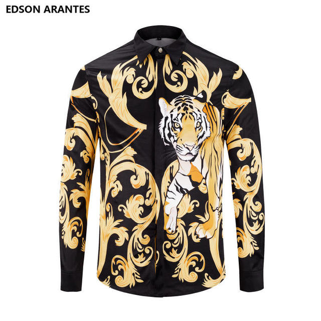 b60dfb909879 EDSON ARANTES Black Gold Fancy Shirts Men Women Long Sleeve Casual Shirt  Luxury Animal Gold Flower Print Slim Fit Social Shirt