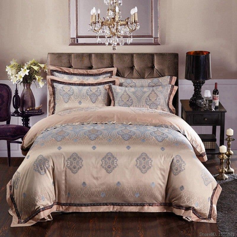 silk bed linen satin jacquard gold red purple pink blue bedding queen king size sheet duvet cover sets