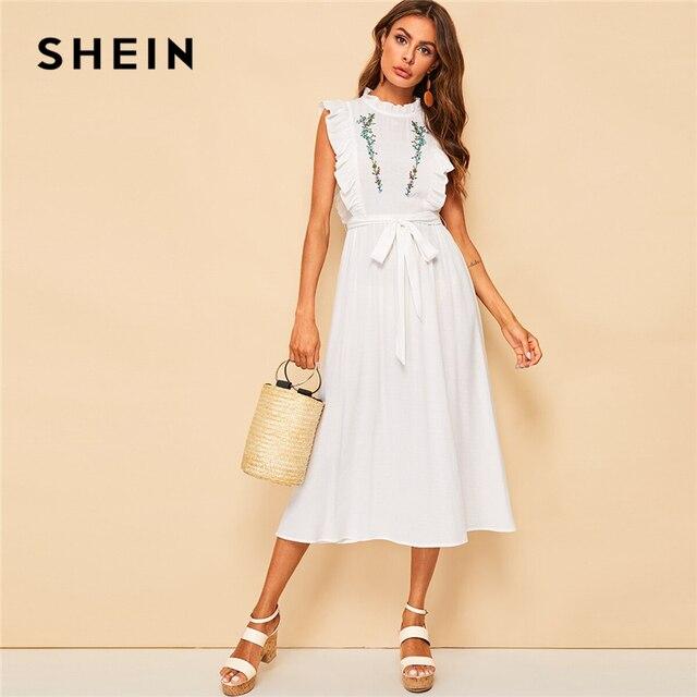 252360e2ef36 SHEIN Mock Neck Ruffle Trim Flower Embroidered Belted Dress Zipper Stand  Collar Sleeveless Boho A Line Summer Women Dress
