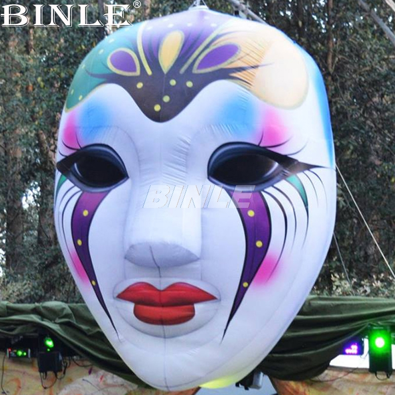 Hot sale 3m giant hanging terror ghost inflatable halloween mask with led lights for halloween decorationHot sale 3m giant hanging terror ghost inflatable halloween mask with led lights for halloween decoration