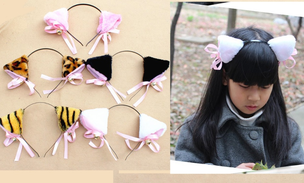 Free shipping, Animal cat Ear Headband with bell/Party decoration/Face painting products/Children's Day performance