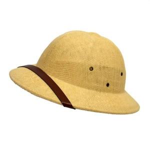 Image 1 - 2019 Unisex Novelty Toquilla Straw Sun Hats for Men Vietnam War Army Hat  Helmet Pith Dad Boater Bucket Hats Summer