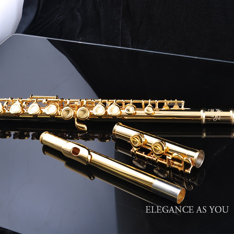 Pure good sound quality gold plated 16 holes add E key C flute,play closed-hole cupronickel C tune flute instrument very good gift silver to build 16 wells plus the e key obturator flute instrument