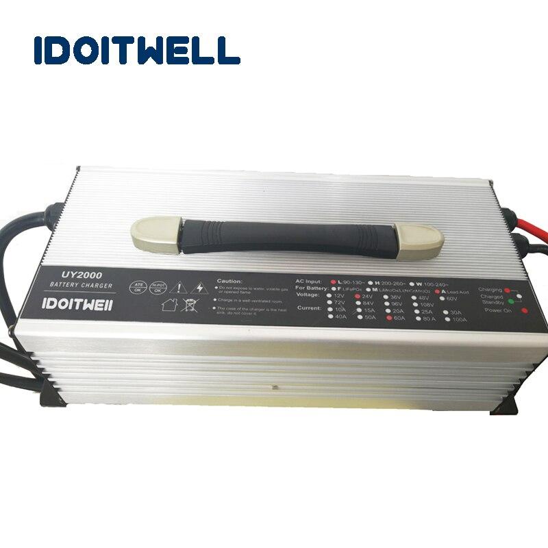 Personalizado 2000 W série 12 V 100A 24 V 60A 36 V 40A 48 V 30A 60 V 25A 72 V 20A LifePO4 De Lítio carregador de bateria de Chumbo ácido de bateria