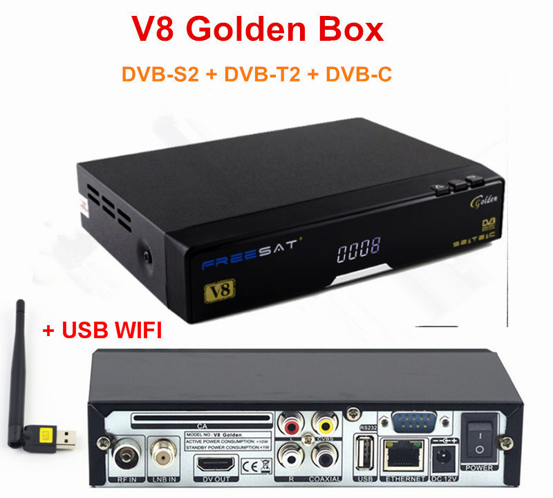 Original 1pc V8 Golden 1080p Full HD DVB-S2 + DVB-T2 + DVB-C Digital Satellite TV Receiver Support Youtube Powervu IPTV+USB WiFi wholesale freesat v7 hd dvb s2 receptor satellite decoder v8 usb wifi hd 1080p support biss key powervu satellite receiver