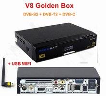Original 1pc V8 Golden 1080p Full HD DVB-S2 + DVB-T2 + DVB-C Digital Satellite TV Receiver Support Youtube Powervu IPTV+USB WiFi