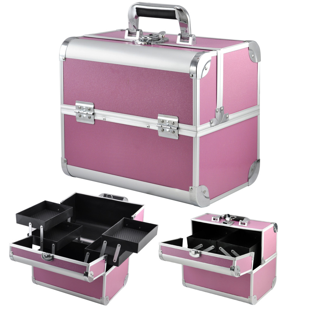Foxhunter Alu Makeup Beauty Cosmetic Hairdressing Nail 4 In 1 Case Box Trolley