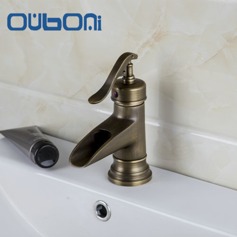 OUBONI Short Waterfall Spout Antique Brass Bathroom Chrome Deck Mount Single Handle Basin Sink Vessel Torneira Tap Mixer Faucet deck mount waterfall spout 3pcs brass basin sink faucet dual handles 3 holes mixer tap chrome finish