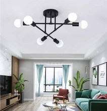 6Head LED Ceiling Lamp Nordic Creative Personality Living Room lamp Post Modern Iron Bedroom Study Ceiling Light Home Decoration