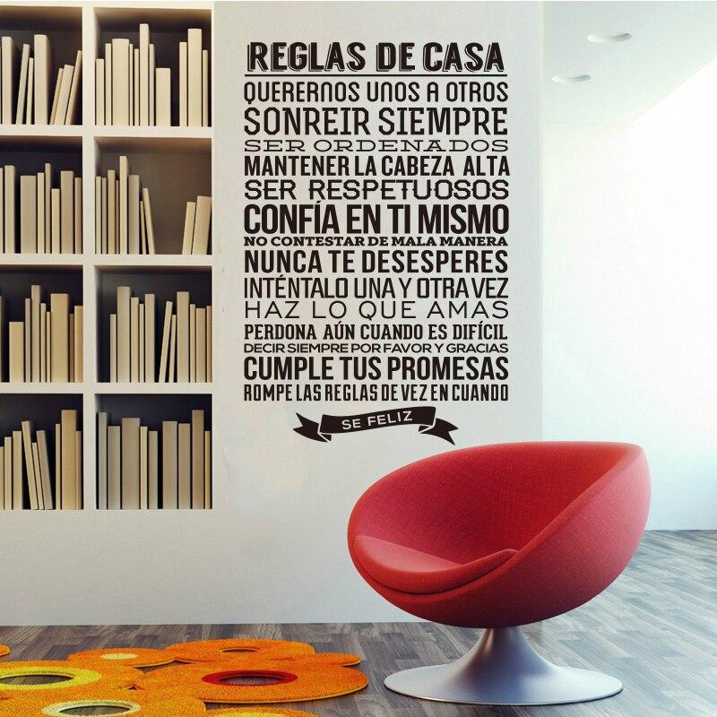 """Vinyl zeď nálepka Španělská nabídka """"reglas de casa"""" dopis zeď obtisk umělec domácí dekorace tapety dům dekorace DW0681"""