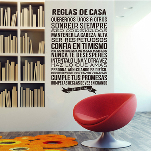 "Vinyl wall sticker Spanish quote ""reglas de casa"" letter wall decal artist home decoration wallpaper house decoration DW0681"