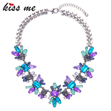 Luxury Created Crystal Flower Pendants Statement Necklace KISS ME Fashion Jewelry Women Accessories