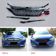 Front Grille Grill Mesh Honeycomb Style Mouldings Cover For Honda Civic 16-2017 цена