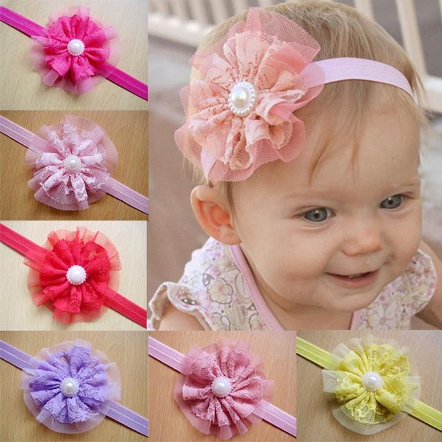 09b236df1e3 2015 Infant Gum Plaiting Summer Style Hair Accessories Bandana Baby Girl  Newborn Girls Pearl Flower Headband Photography Props