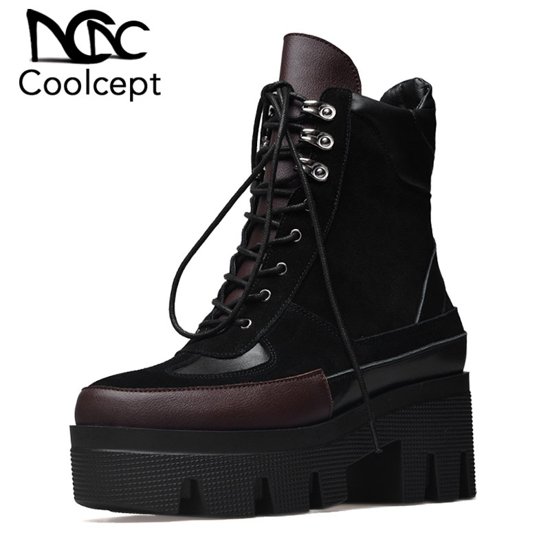 Coolcept 2019 New Design Cow Suede Genuine Leather Cool Boots Woman Fashion Leisure Outdoor Women Ankle Boots Size 34-42Coolcept 2019 New Design Cow Suede Genuine Leather Cool Boots Woman Fashion Leisure Outdoor Women Ankle Boots Size 34-42