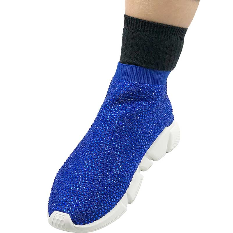 Elehot Blue Rhinestone Sock Sneakers (2)