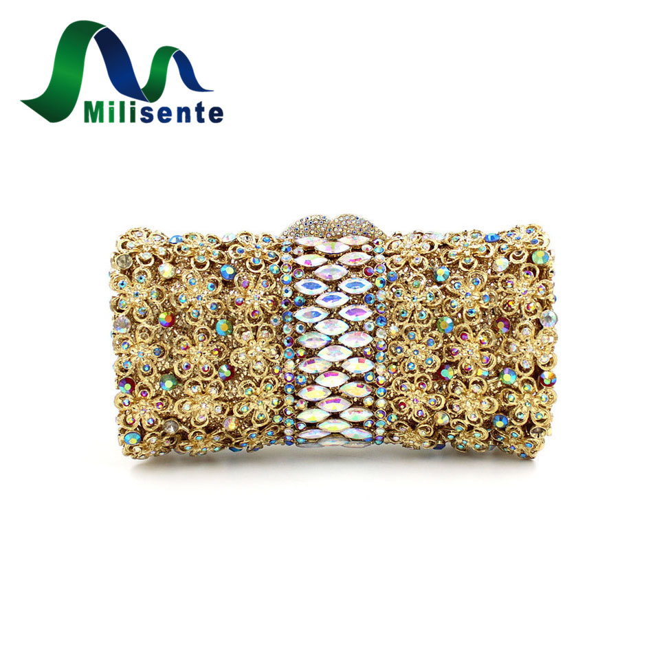 ФОТО Ladies Crystal Silver Wedding Purses Luxury Diamonds Sisters Party Bags Women Evening Clutch Gold