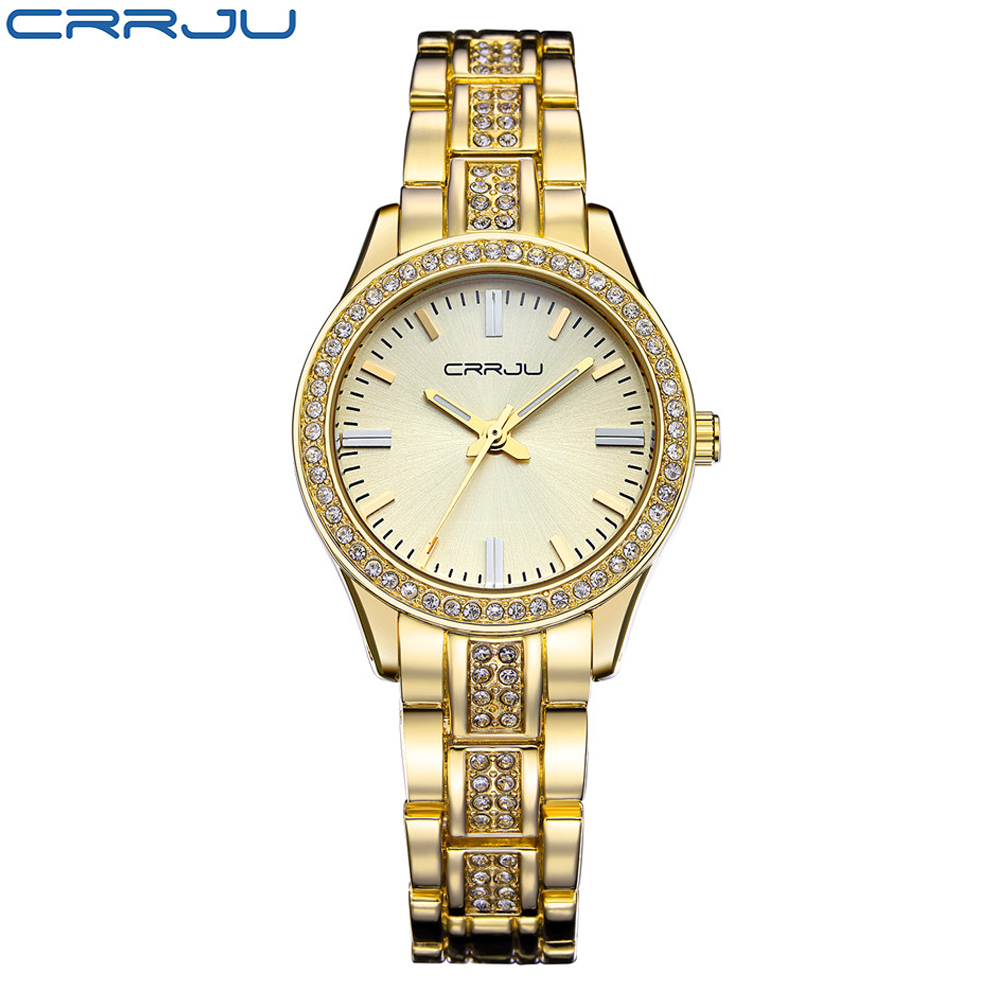 CRRJU Luxury Brand Women Watch Hot Sale Casual Rhinestone Steel Quartz Watches Ladies Fashion Dress Female Wristwatch Relojes hot women s steel ceramic wristwatch women dress rhinestone watches fashion casual quartz watch luxury brand melissa 8009 clock