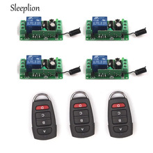 Sleeplion Remote Control Relay 12V 10A 1CH Switch 3 Transceiver with 4 Receiver 315MHz/433MHz Wireless Remote Control