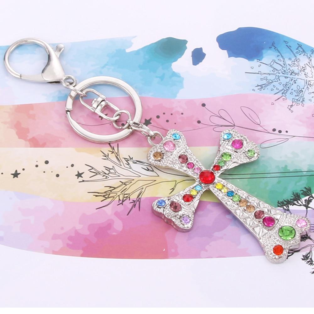 Full Zircon Cross Keychain Charm Crystal Vintage Choker Cute Pendant Torque Sweater Keychain Flawless Ornaments Keychain gift