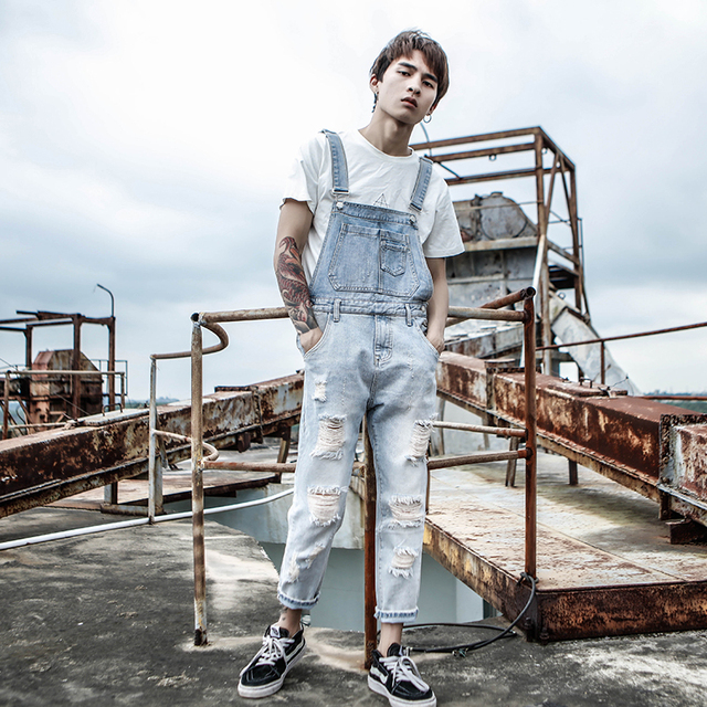 2019 New Hong Kong style Hip Hop Denim Jumpsuit Male Hole Nine pants Korean version of the tide youth Slim Strap jeans