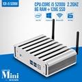 Fanless pc computador I5 5200U 2.2 GHz 8 G RAM 128 G SSD + WIFI 1080 P Mini pc industrial 6 * USB HDMI + VGA