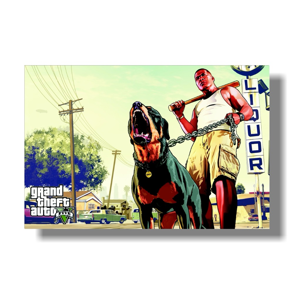 Grand Theft Auto V Art Silk Print Fabric Poster Game Hot GTA 5 bilder för väggdekoration