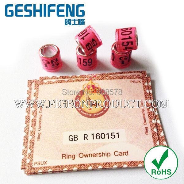 100pc free shipping GB 2015 pink color ring with cards pigeon ring