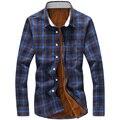 Новый 2016 мода плед утолщение флис теплая зима рубашка мужчин Большой размер 5xl свободного покроя вельвет тонкой рубашки сорочка homme / CS5