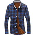 New 2016 fashion plaid thickening fleece warm winter shirt men plus size 5xl casual corduroy slim fit shirt chemise homme /CS5
