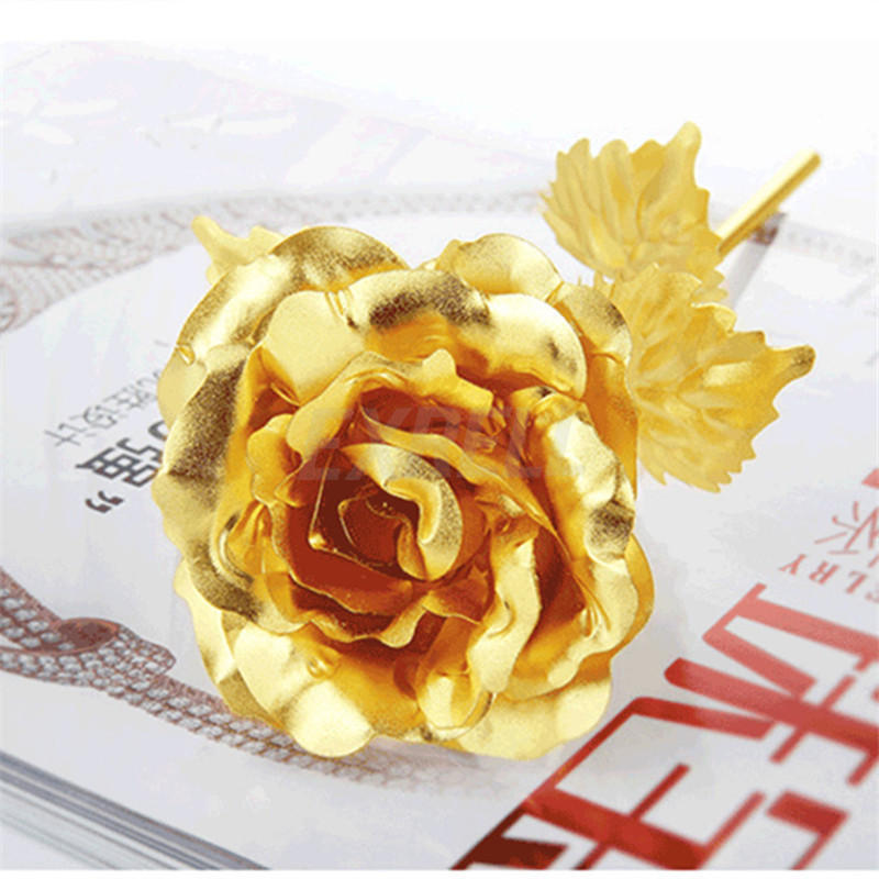 24K Gold Plated Rose Flower Valentines Day Gift Birthday Romantic Golden Home Decor Festive Party Supplies In Artificial Dried Flowers From