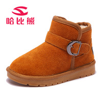2017 Genuine Leather Girl Boots Kids Sneakers Children Snow Boots Quality Plush Boys Winter Boots For