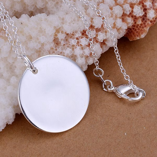 wholesale silver plated pendant,925 fashion Silver jewelry bright round pendants necklace for women/men +chain SP137