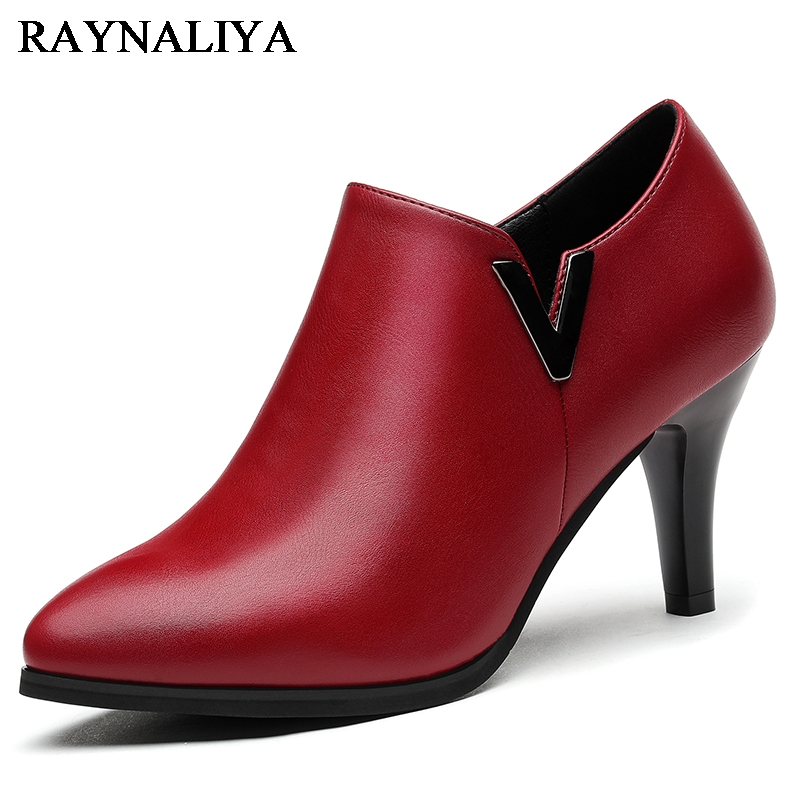 Spring New Fashion High Heels Soft Genuine Leather Wedding Dress Shoes Thin Heel Pointed Toe Sexy Women Pumps Black Red YG-B0065 allbitefo fashion sexy thin heels pointed toe women pumps full genuine leather platform office ladies shoes high heel shoes