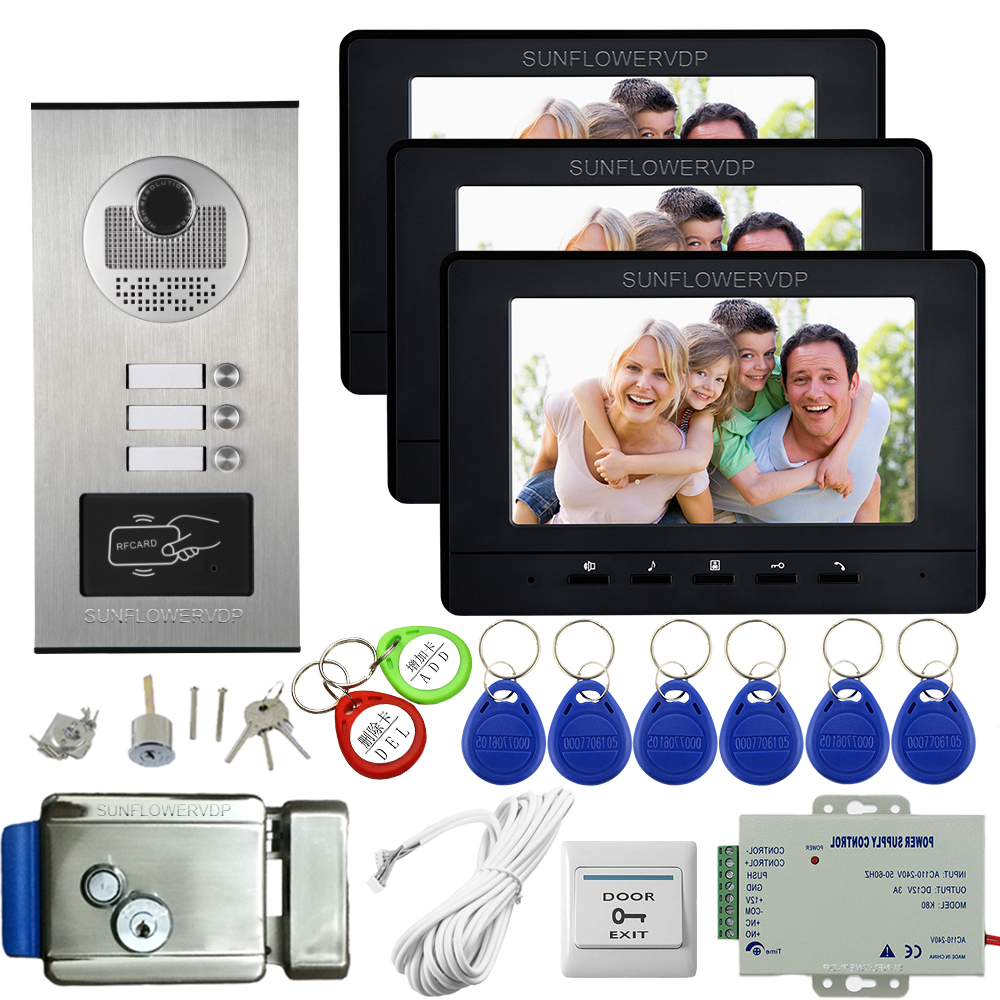 Video Intercom For 3 Apartments Access Control 7inch Color Housephone To House Bell System Video Intercom + Electronic Door Lock