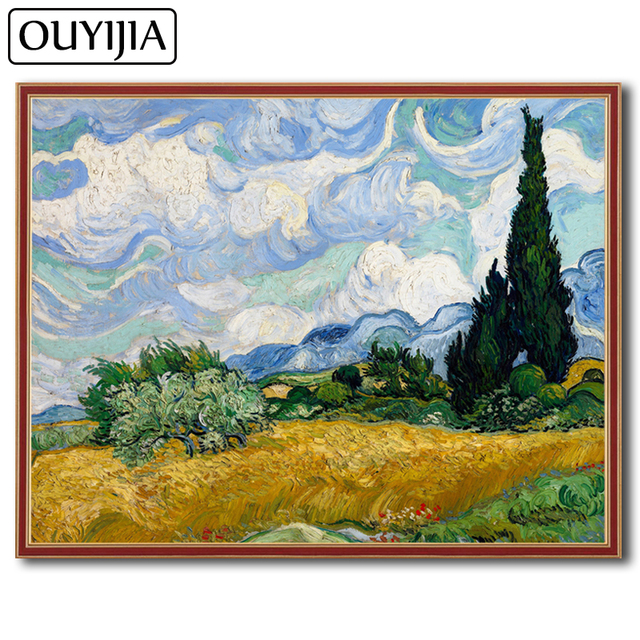 OUYIJIA 5D DIY Diamond Painting Van Gogh Wheat Field With Cypresses  Decoration Embroidery Diamond Mosaic Picture Of Rhinestone a8025da54947