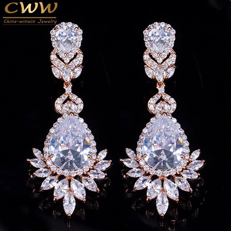 CWWZircons Top Quality Cubic Zirconia Rose Gold Color Big Long Dangle Drop Bridal Wedding Earrings Jewelry For Women CZ151 yoursfs dangle earrings with long chain austria crystal jewelry gift 18k rose gold plated