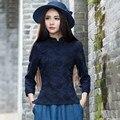 Otoño Primavera Jacquard Blusa Mujeres Y Cuello Mao Ocasional Cheongsam Manga Tres Cuartos Camisetas de Diseño Retro
