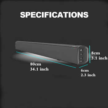 LONPOO Home Theater 40W Bluetooth Soundbar TV AUX Optic Bluetooth Soundbar Speakers Bass Soundbar Speaker for TV