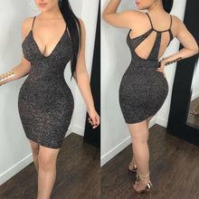 цена на Sexy Women's Bandage V-neck Bodycon Sleeveless Evening Party Club Short Mini Dress Black