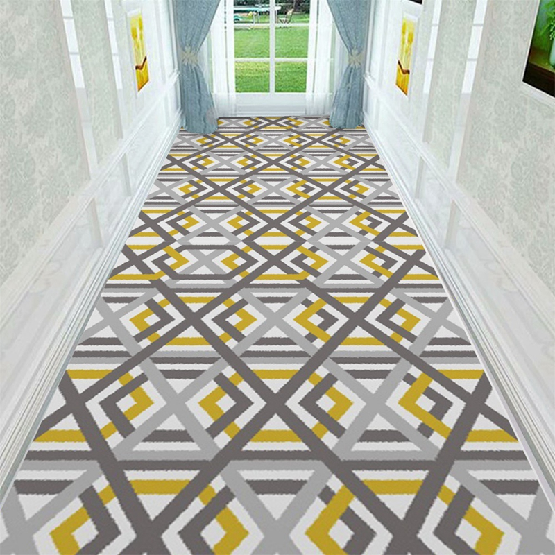 Nordic Stair Tapete Yellow Grey Geometric Corridor Carpet Hotel Long Aisle Rug Home Entrance Hallway Doormat Anti-Slip Floor Mat